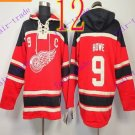 Stitched Detroit Red Wings Hoody #9 Howe Hockey men Red Jerseys Ice Jersey