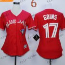 women toronto blue jays #17 ryan goins Red 2015 Baseball Jersey Rugby Jerseys Authentic Stitched