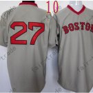 Boston Red Sox Jersey #27 Carlton Fisk Gray Shirt Throwback Baseball Jersey