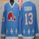 Cord NHL Quebec Nordique 13 Sundin Light Blue Hockey Jersey Stitched