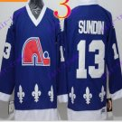 Cord NHL Quebec Nordique 13 Sundin Blue Hockey Jersey Stitched