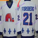 Cord NHL Quebec Nordique #21 Forsberg White Hockey Jersey Stitched