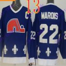 Cord NHL Quebec Nordique #22 Marois Blue Hockey Jersey Stitched