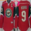 Stitched Minnesota Wild Blank 9 KOIVU Red Hockey Jersey Ice