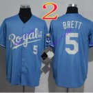 kansas city royals #5 george brett 2016 Baseball Jersey Blue Rugby Jerseys Authentic Stitched