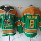 Anaheim Ducks #8 Teemu Selanne Green Hockey Hooded Stitched Old Time Hoodies Sweatshirt Jerseys