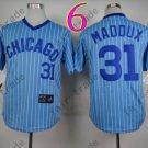 Chicago Cubs Jersey #31 Greg Maddux  Blue Strips 1988 Baseball Jersey