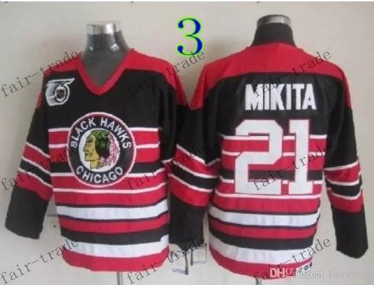 75 Anniversary Patch Chicago Blackhawks  #21 Stan Mikita Throwback Retro Ice Hockey Jerseys