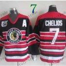 75 Anniversary Patch Chicago Blackhawks #7 Chris Chelios Throwback Retro Ice Hockey Jerseys