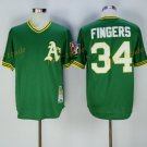 Oakland Athletics 34 Rollie Fingers Jersey Green Baseball Jerseys Flexbase Throwback Stitched