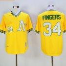 Oakland Athletics 34 Rollie Fingers Jersey Yellow Baseball Jerseys Flexbase Throwback Stitched