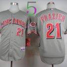 21 Deion Sanders Jersey Flexbase Cincinnati Reds Cooperstown Baseball Jerseys Gray 2