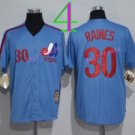 Montreal Expos Baseball Jerseys 2016 30 Tim Raines Jersey Throwback Blue
