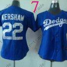 Los Angeles Dodgers Women Jersey 22 Clayton Kershaw Women Baseball Jersey Blue