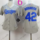 Los Angeles Dodgers Women Jersey 42 Jackie Robinson  Women Baseball Jersey Gray