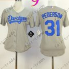 Los Angeles Dodgers Women Jersey 31 Joc Pederson Women Baseball Jersey Gray