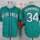 Seattle Mariners Jersey 34 Felix Hernandez Green Baseball Jersey Best Jersey Sox