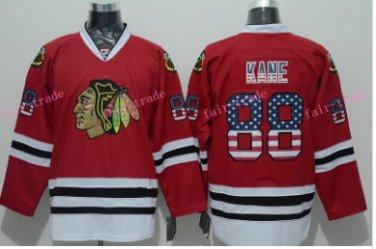 c8eac6aec Chicago Blackhawks Jerseys Patrick KANE  88 Mens Red USA Flag Stitched Hockey  Jersey