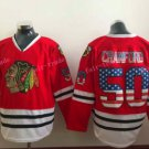 Chicago Blackhawks Jerseys 50 Crawford Mens Red USA Flag Stitched Hockey Jersey