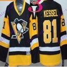 Stitched Pittsburgh Penguins #81 Phil Kessel Black Yellow Hockey Jerseys Ice Jersey