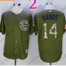 Chicago Cubs Army Green Salute To Service Jersey #14 Ernie Banks 100% Stitched