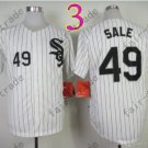 Chris Sale Jersey Chicago White Sox 49 White pullover Black Pinstripe Cool Base