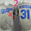 LA Dodgers 31# Joc Pederson Jersey Gray Cool Base