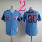 Montreal Expos Jersey  30 Tim Raines Blue Throwback Stitched