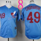 Montreal Expos Jersey #49 Warren Cromartie Blue Throwback Stitched