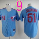 Montreal Expos Jersey 51 Randy Johnson Blue Throwback Stitched