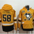 Pittsburgh Penguins #58 Kris Letang Yellow Hockey Hooded Stitched Old Time Hoodies Jerseys
