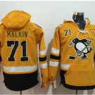 Pittsburgh Penguins #71 Evgeni Malkin Yellow Hockey Hooded Stitched Old Time Hoodies Jerseys