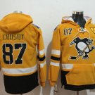 Pittsburgh Penguins #87 Sidney Crosby Yellow Hockey Hooded Stitched Old Time Hoodies Jerseys