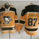 Pittsburgh Penguins #87 Sidney Crosby Black Yellow Hockey Hooded Stitched Old Time Hoodies Jerseys