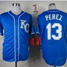 2015 World Series Kansas City Royals 13 Salvador Perez Baseball Blue Jerseys