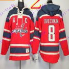 Stitched WCapitals Hoody #8 Ovekhkin men Red Black Jerseys Ice Jersey Hoodie