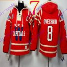 Stitched WCapitals Hoody #8 Ovekhkin men Red Jerseys Ice Jersey Hoodie