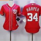 2017 Women Majestic Stitched Washington Nationals Blank 34 Bryce Harper Red Baseball Jersey