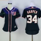 2017 Women Majestic Stitched Washington Nationals Blank 34 Bryce Harper Blue Baseball Jersey