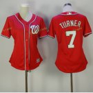 2017 Women Majestic Stitched Washington Nationals Blank 7 Trea Turner red Baseball Jersey