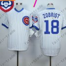 Ben Zobrist Jersey Chicago Cubs 18# Baseball Jersey, Stitched White Blue