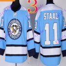 Stitched Pittsburgh Penguins #11 Jordan Staal Blue Hockey Jerseys Ice Winter Jersey