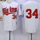Baseball 34 Kirby Puckett Jersey Minnesota Twins 1987 Cooperstown White Style 1