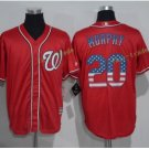 Washington Nationals 20 Murphy Baseball Jersey Red USA Flag Fashion Cool Base Stitched