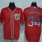Washington Nationals 34 Bryce Harper Baseball Jersey Red USA Flag Fashion Cool Base Stitched