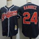 Cleveland Indians #24 Manny Ramirez Blue Throwback Stitched Jersey Style 1
