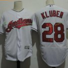 Cleveland Indians #28 Corey Kluber White Throwback Stitched Jersey