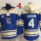 Kansas City Royals #4 Alex Gordon Baseball Hooded Stitched Old Time Hoodies Sweatshirt Jerseys