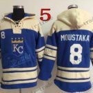 Kansas City Royals #8 mike moustakas Baseball Hooded Stitched Old Time Hoodies Sweatshirt Jerseys