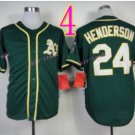 Rickey Henderson Jersey Oakland Athletics 1990 World Series Green Throwback Vintage